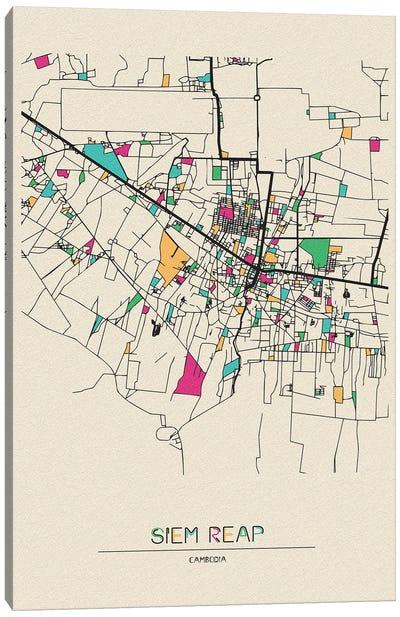 Siem Reap, Cambodia Map Canvas Art Print