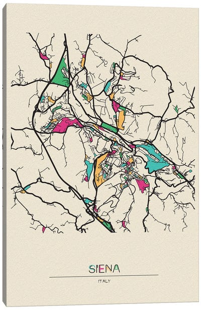 Siena, Italy Map Canvas Art Print
