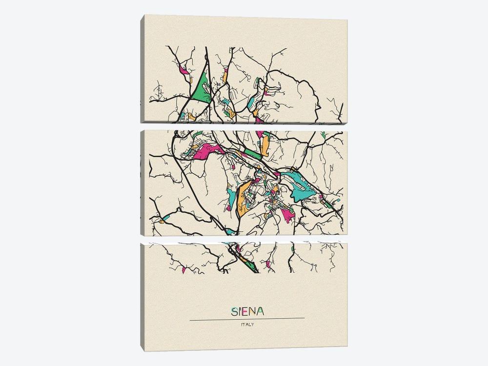 Siena, Italy Map by Ayse Deniz Akerman 3-piece Canvas Art