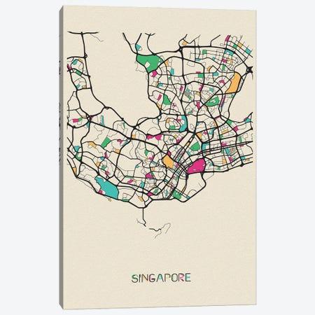 Singapore Map Canvas Print #ADA662} by Ayse Deniz Akerman Canvas Print