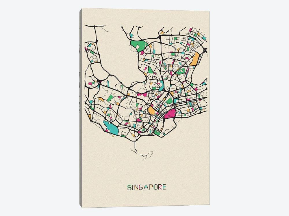 Singapore Map by Ayse Deniz Akerman 1-piece Canvas Print