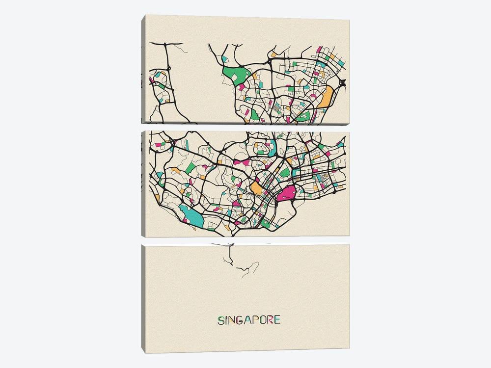 Singapore Map by Ayse Deniz Akerman 3-piece Canvas Art Print