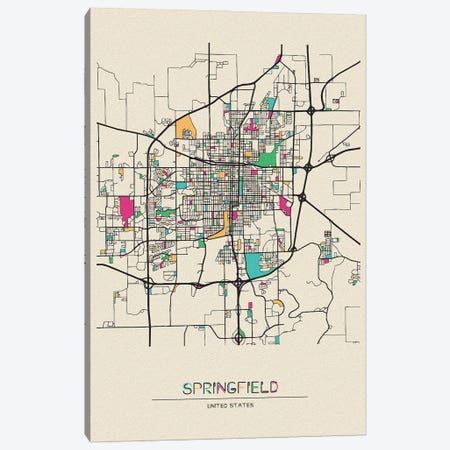 Springfield, Illinois Map Canvas Print #ADA664} by Ayse Deniz Akerman Canvas Art