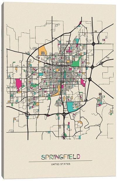 Springfield, Illinois Map Canvas Art Print