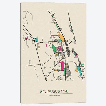 St. Augustine, Florida Map Canvas Print #ADA665} by Ayse Deniz Akerman Canvas Artwork