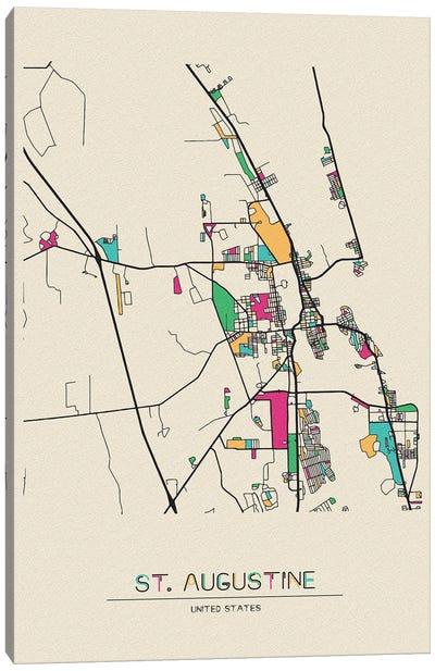 St. Augustine, Florida Map Canvas Art Print