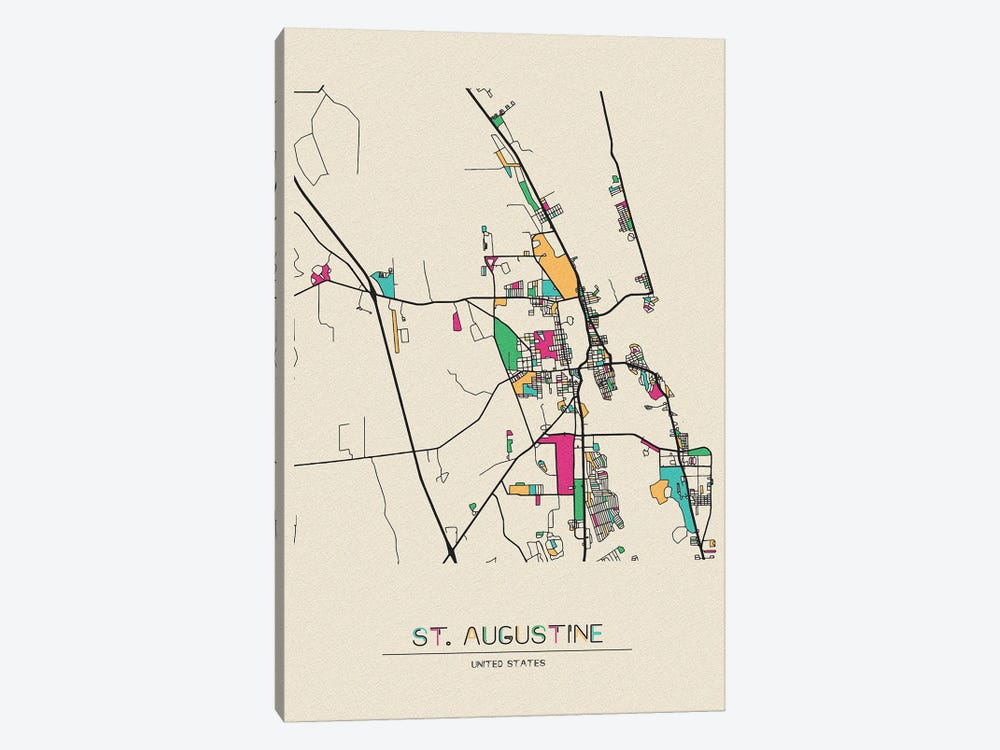 St. Augustine, Florida Map by Ayse Deniz Akerman 1-piece Canvas Artwork