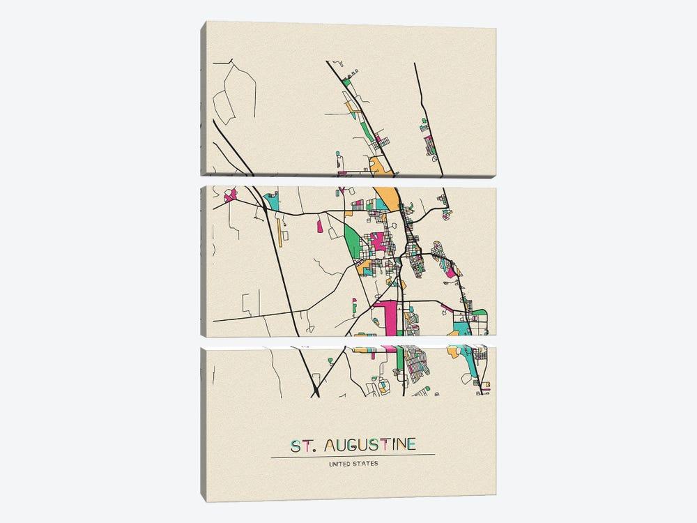 St. Augustine, Florida Map by Ayse Deniz Akerman 3-piece Canvas Wall Art