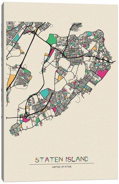 Staten Island, New York Map Canvas Art Print