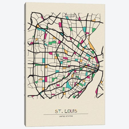 St. Louis, Missouri Map Canvas Print #ADA668} by Ayse Deniz Akerman Canvas Print