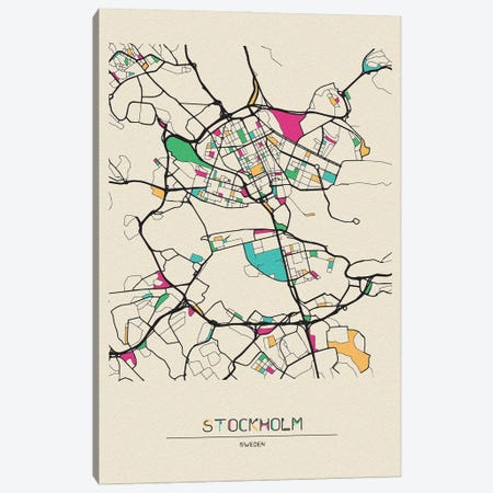 Stockholm, Sweden Map Canvas Print #ADA669} by Ayse Deniz Akerman Canvas Art Print