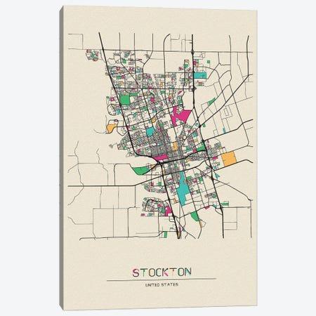 Stockton, California Map Canvas Print #ADA670} by Ayse Deniz Akerman Canvas Art