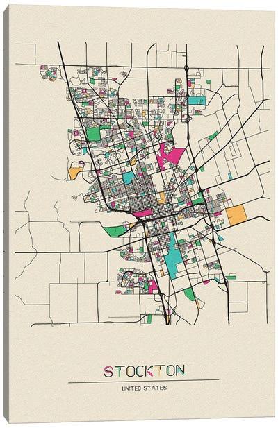 Stockton, California Map Canvas Art Print