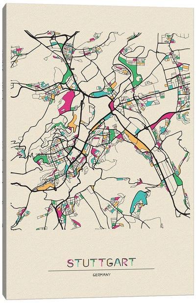 Stuttgart, Germany Map Canvas Art Print