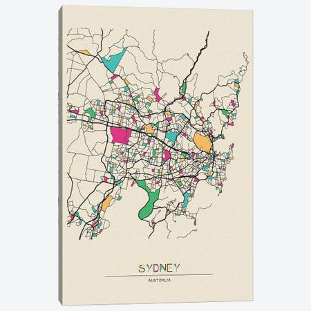 Sydney, Australia Map Canvas Print #ADA672} by Ayse Deniz Akerman Canvas Art