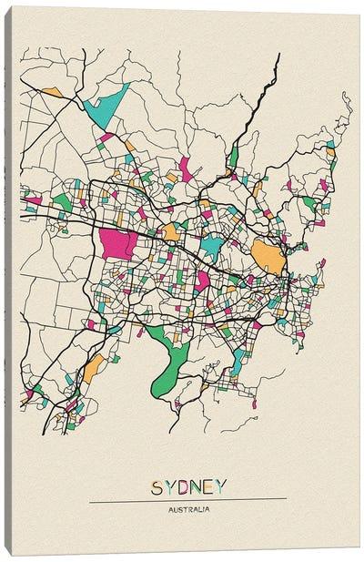 Sydney, Australia Map Canvas Art Print
