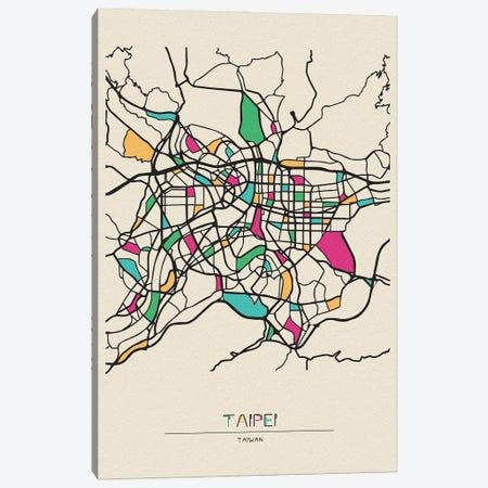 Taipei, Taiwan Map Canvas Print #ADA674} by Ayse Deniz Akerman Canvas Print