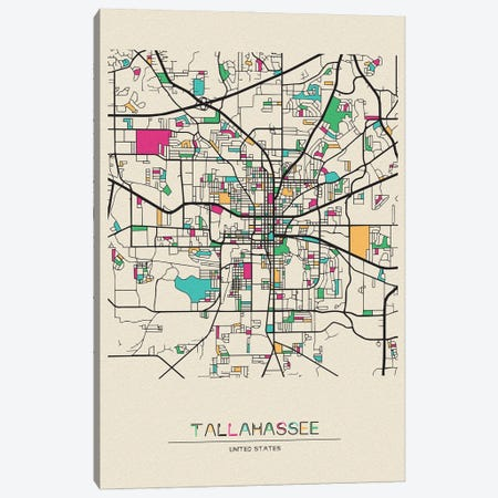 Tallahassee, Florida Map Canvas Print #ADA675} by Ayse Deniz Akerman Canvas Print