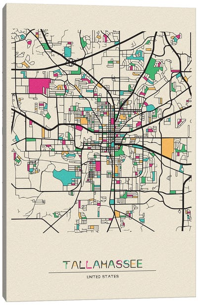 Tallahassee, Florida Map Canvas Art Print