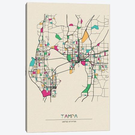 Tampa, Florida Map Canvas Print #ADA677} by Ayse Deniz Akerman Canvas Print