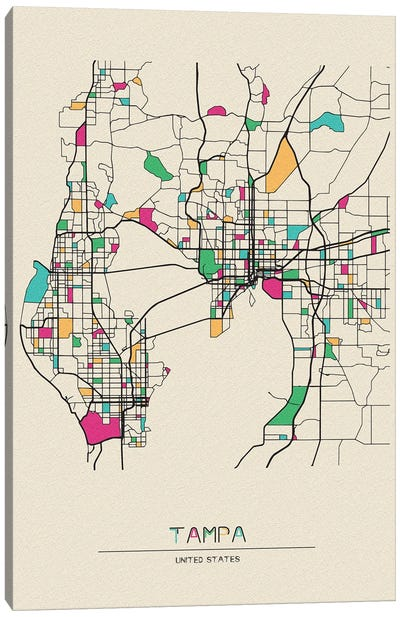 Tampa, Florida Map Canvas Art Print
