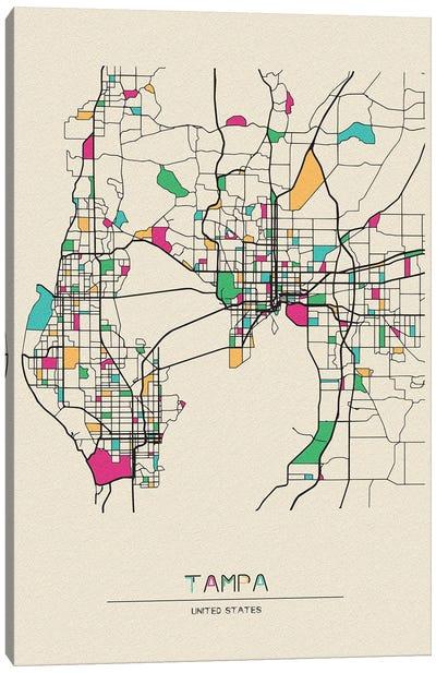 Tampa, Florida Map Canvas Art Print