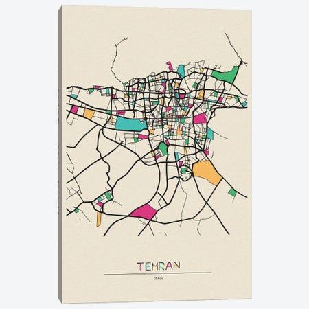 Tehran, Iran Map Canvas Print #ADA679} by Ayse Deniz Akerman Canvas Artwork
