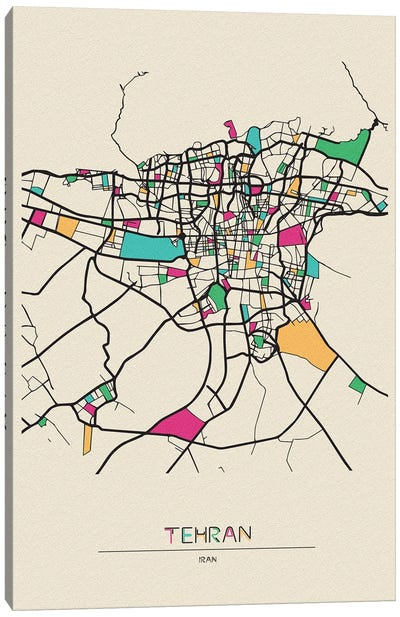 Tehran, Iran Map Canvas Art Print