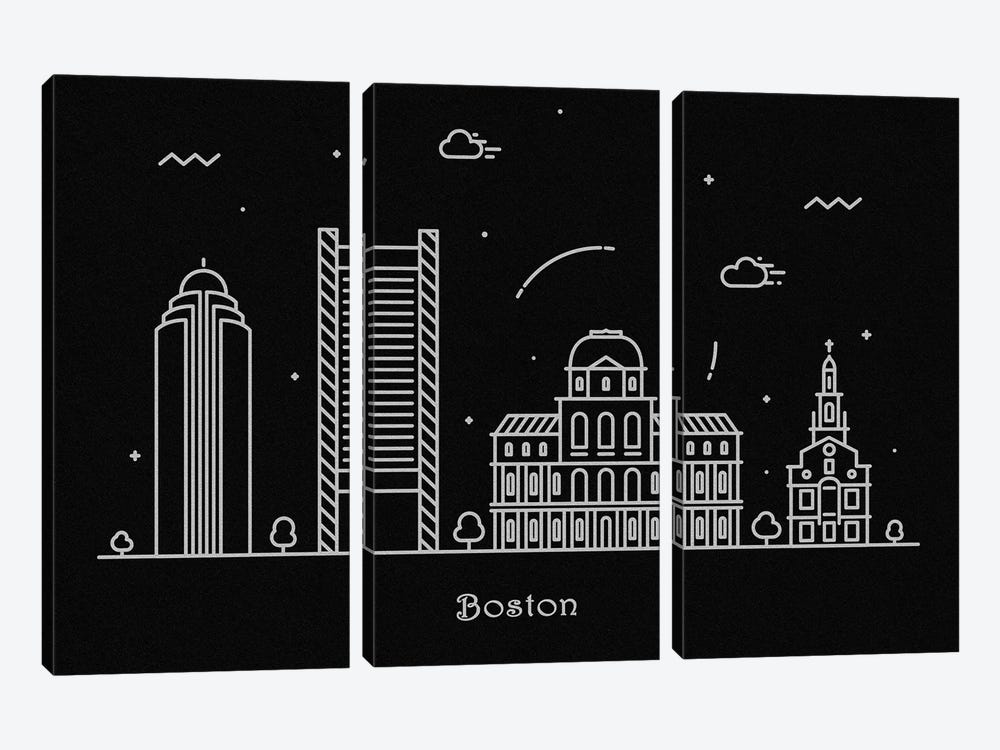 Boston by Ayse Deniz Akerman 3-piece Canvas Artwork