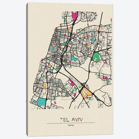 Tel Aviv, Israel Map Canvas Print #ADA680} by Ayse Deniz Akerman Canvas Print
