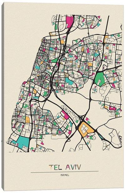 Tel Aviv, Israel Map Canvas Art Print