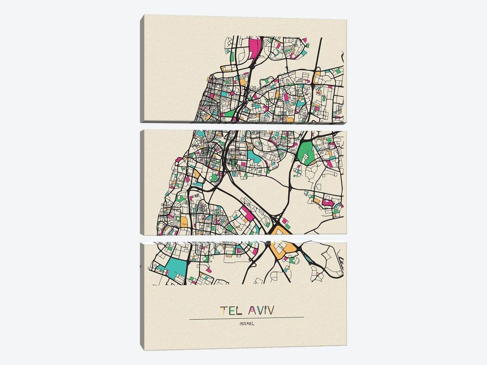 Tel Aviv, Israel Map by Ayse Deniz Akerman 3-piece Canvas Art Print