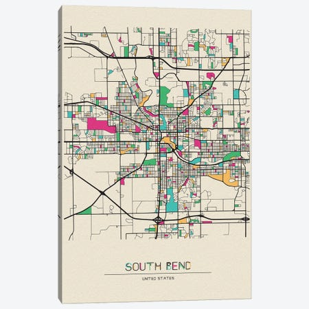 South Bend, Indiana Map Canvas Print #ADA683} by Ayse Deniz Akerman Art Print