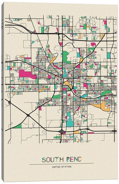 South Bend, Indiana Map Canvas Art Print