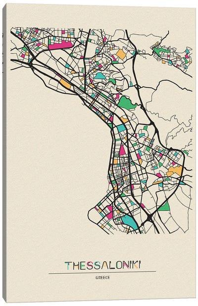 Thessaloniki, Greece Map Canvas Art Print
