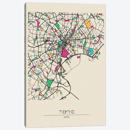 Tokyo, Japan Map Canvas Print #ADA689} by Ayse Deniz Akerman Art Print