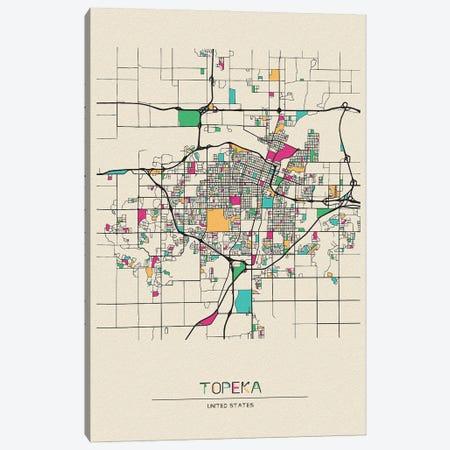 Topeka, Kansas Map Canvas Print #ADA691} by Ayse Deniz Akerman Canvas Art