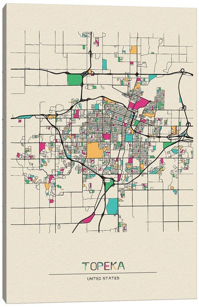 Topeka, Kansas Map Canvas Art Print