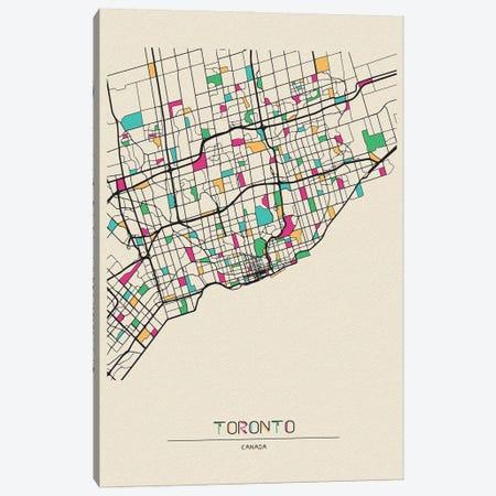 Toronto, Canada Map Canvas Print #ADA692} by Ayse Deniz Akerman Canvas Wall Art