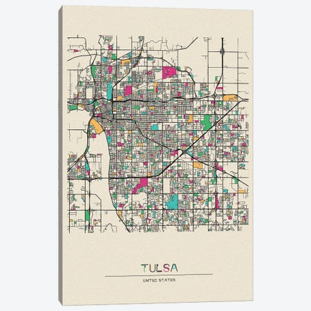 Tulsa, Oklahoma Map Canvas Print #ADA696} by Ayse Deniz Akerman Canvas Print