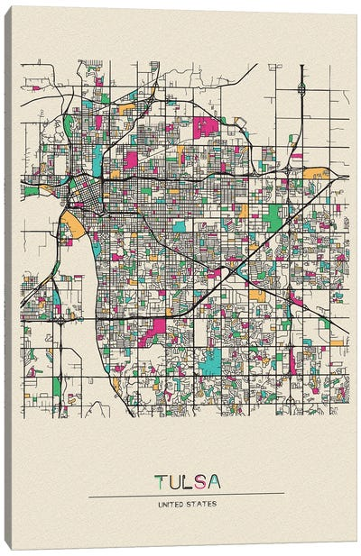 Tulsa, Oklahoma Map Canvas Art Print