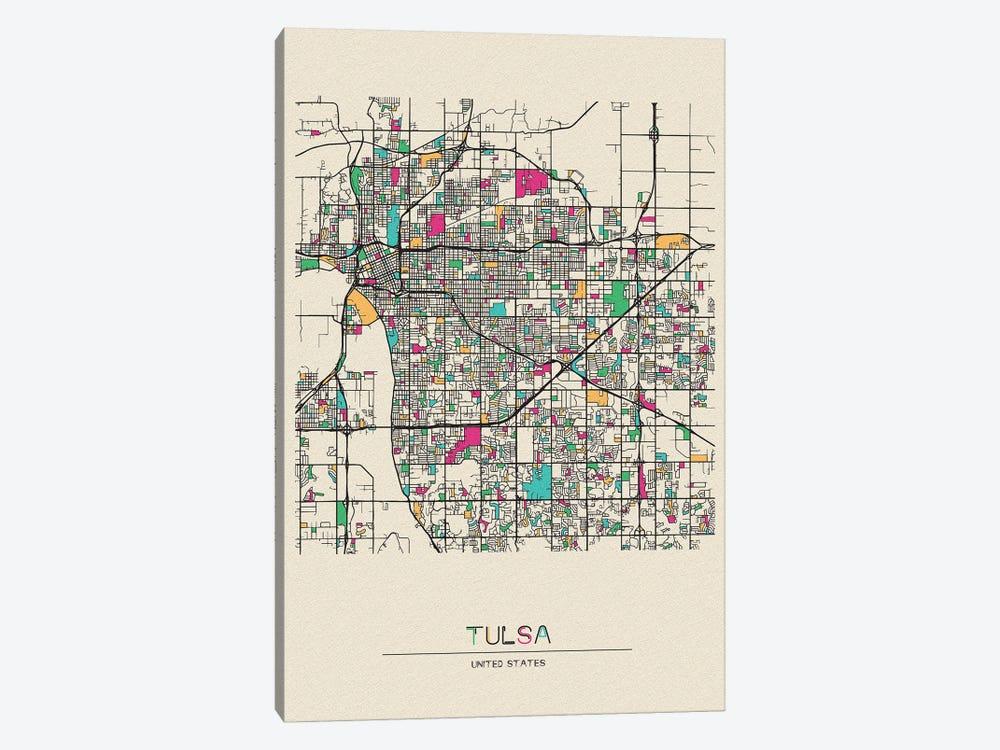 Tulsa, Oklahoma Map by Ayse Deniz Akerman 1-piece Canvas Wall Art