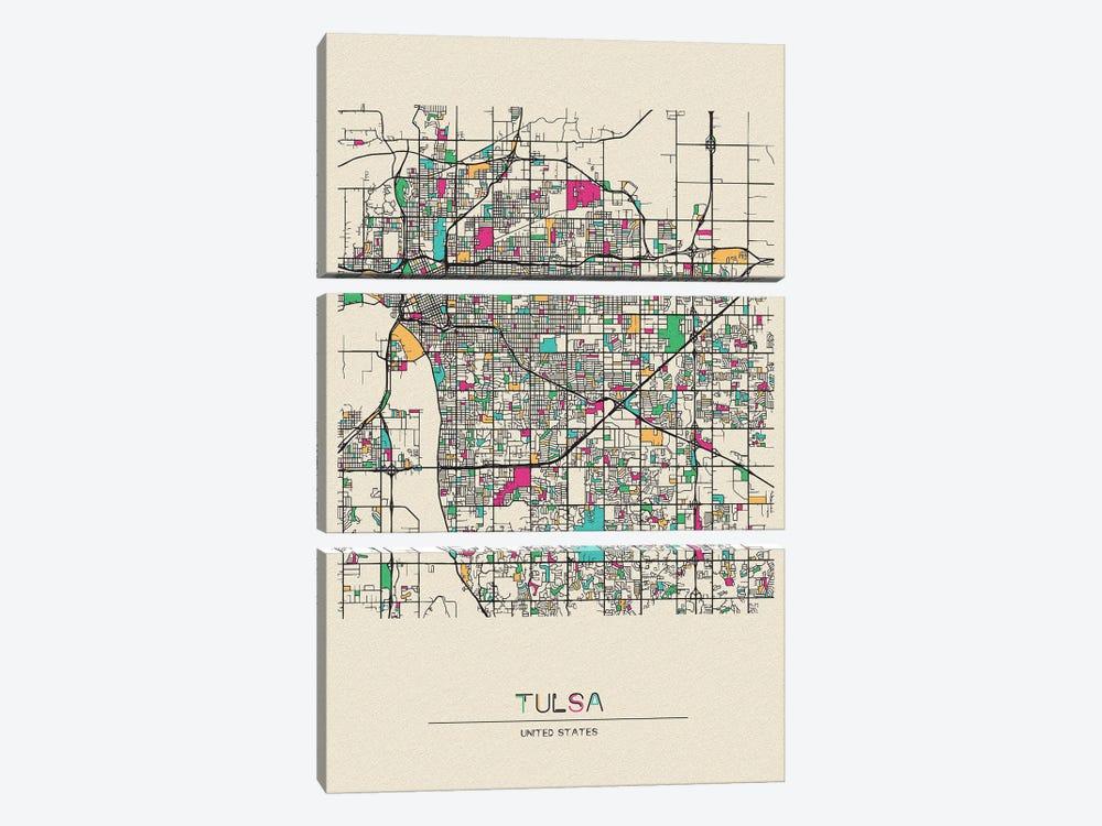 Tulsa, Oklahoma Map by Ayse Deniz Akerman 3-piece Canvas Art