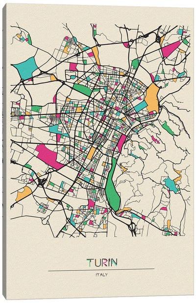 Turin, Italy Map Canvas Art Print