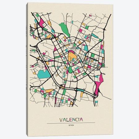 Valencia, Spain Map Canvas Print #ADA700} by Ayse Deniz Akerman Canvas Art
