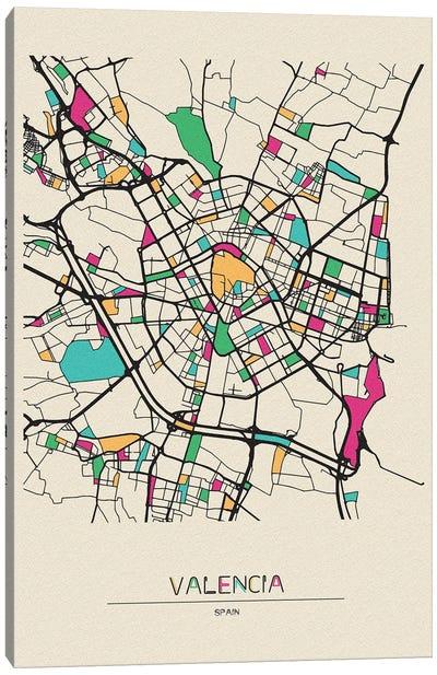 Valencia, Spain Map Canvas Art Print