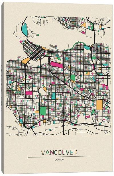 Vancouver, Canada Map Canvas Art Print