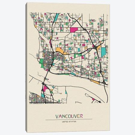 Vancouver, Washington Map Canvas Print #ADA703} by Ayse Deniz Akerman Canvas Wall Art