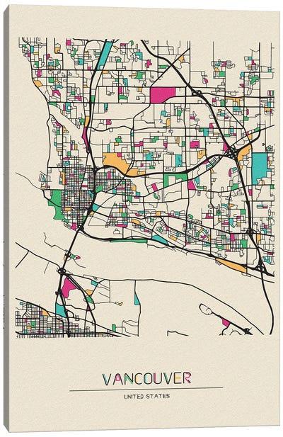 Vancouver, Washington Map Canvas Art Print