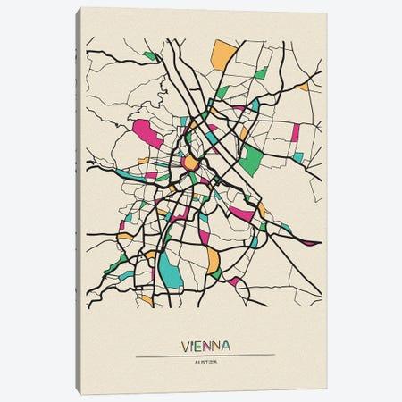 Vienna, Austria Map Canvas Print #ADA706} by Ayse Deniz Akerman Canvas Print
